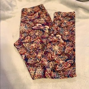 LuLaRoe Tween Butterfly and Flower Leggings